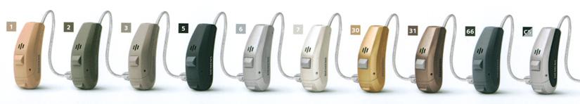 Les couleurs du contour d'oreille RIC appareil auditif Siemens Ace 7px
