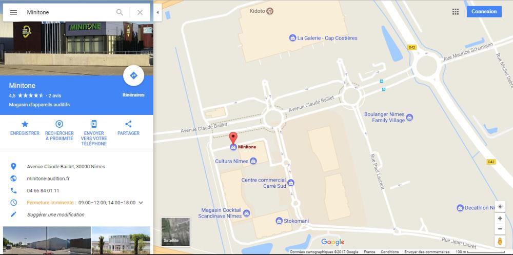 Plan itinéraire du centre auditif Minitone à Nîmes dans le Gard