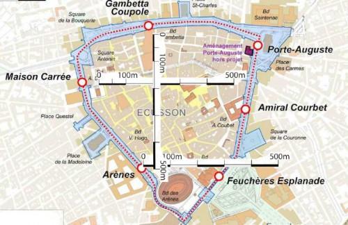 plan des travaux du tram'bus de Nîmes